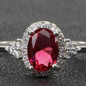 New Silver 925 Ring for Women Fine ruby stone